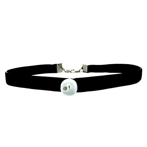 Black Velvet Choker Necklace with Lace Trim Design - Pop Fashion (Velvet Choker with Faux Pearl)