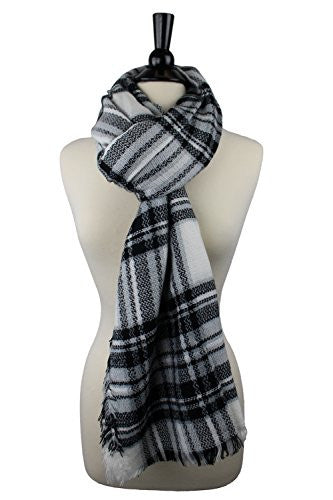 Pop Fashion Women's Oversized Blanket Scarf with Ultra Soft Feel and Plaid Printed Design (Black and White)