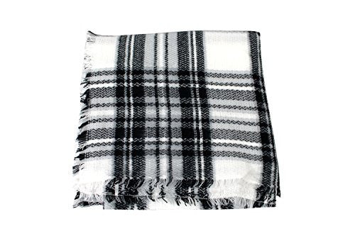 Pop Fashion Women's Oversized Blanket Scarf with Ultra Soft Feel and Plaid Printed Design (Black and White) - Pop Fashion