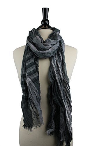 Pop Fashion Women's Long Tissue Scarf with Frayed Design and Scrunch Texture (Grey with Stripes)