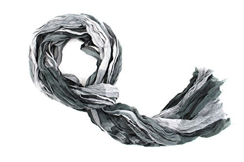 Pop Fashion Women's Long Tissue Scarf with Frayed Design and Scrunch Texture (Grey with Stripes) - Pop Fashion