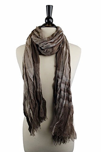 Pop Fashion Women's Long Tissue Scarf with Frayed Design and Scrunch Texture (Taupe, Brown, Black)