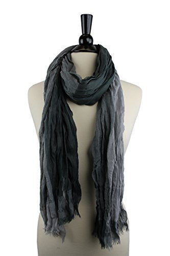 Pop Fashion Women's Long Tissue Scarf with Frayed Design and Scrunch Texture (Light and Dark)