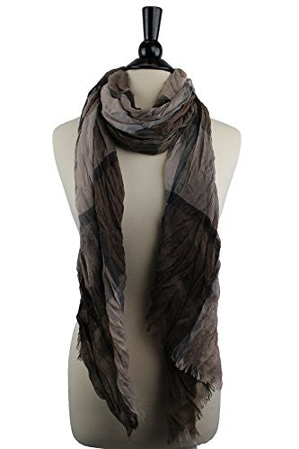 Pop Fashion Women's Long Tissue Scarf with Frayed Design and Scrunch Texture (Light Brown and Dark Brown)
