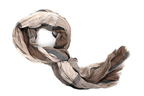 Pop Fashion Women's Long Tissue Scarf with Frayed Design and Scrunch Texture (Light Brown and Dark Brown) - Pop Fashion