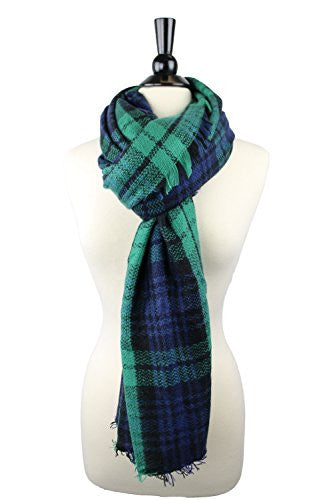 Pop Fashion Women's Oversized Blanket Scarf with Ultra Soft Feel and Plaid Printed Design (Green, Blue, Black)