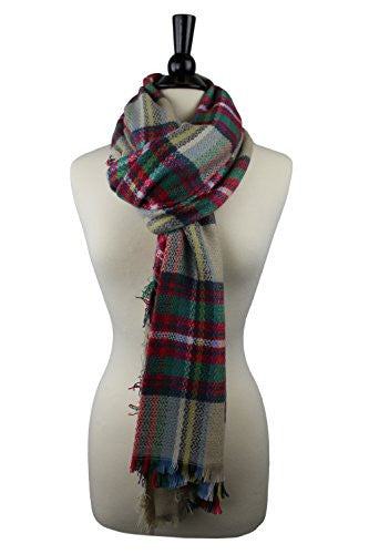 Pop Fashion Women's Oversized Blanket Scarf with Ultra Soft Feel and Plaid Printed Design (Red, Green, Tan)