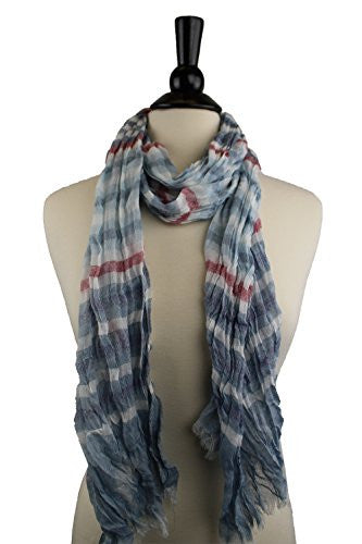 Pop Fashion Women's Long Tissue Scarf with Frayed Design and Scrunch Texture (White, Navy, Light Blue, Red)