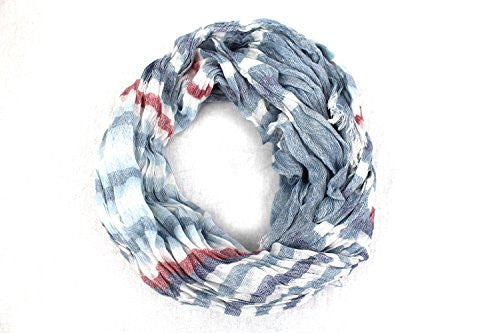 Pop Fashion Women's Long Tissue Scarf with Frayed Design and Scrunch Texture (White, Navy, Light Blue, Red) - Pop Fashion