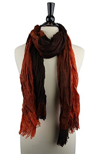 Pop Fashion Women's Long Tissue Scarf with Frayed Design and Scrunch Texture (Orange and Brown)