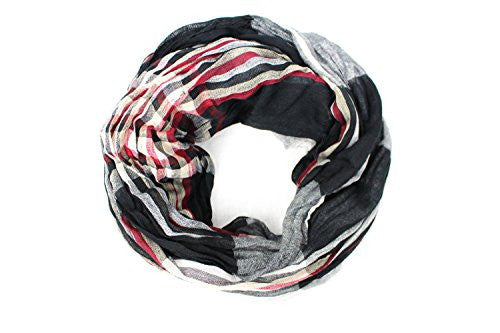 Pop Fashion Women's Long Tissue Scarf with Frayed Design and Scrunch Texture (Black, White, Red, Cream) - Pop Fashion