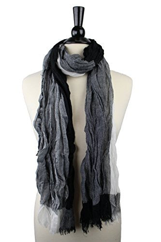 Pop Fashion Women's Long Tissue Scarf with Frayed Design and Scrunch Texture (Black, White, Grey)