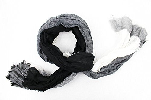 Pop Fashion Women's Long Tissue Scarf with Frayed Design and Scrunch Texture (Black, White, Grey) - Pop Fashion