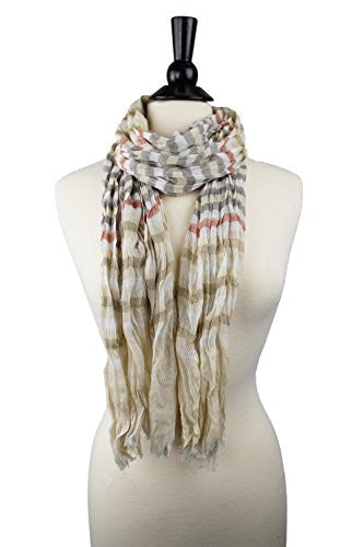 Pop Fashion Women's Long Tissue Scarf with Frayed Design and Scrunch Texture (Cream, White, Grey, Red)