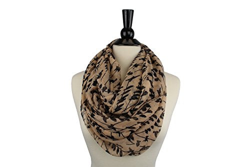 Pop Fashion Women's Bird Printed Pattern Infinity Lightweight Scarf
