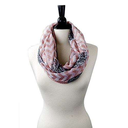 Pop Fashion Womens Pattern Chevron Infinity Scarf with Dots Pattern - Pop Fashion