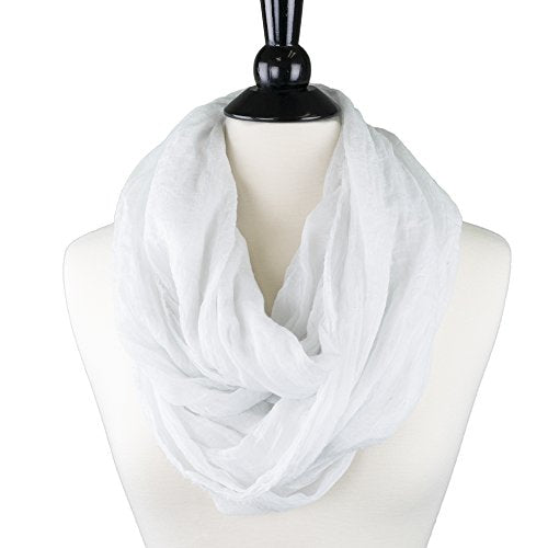 Pop Fashion Womens Infinity Lightweight Scarf Solid Color Scarf with Frayed Edges