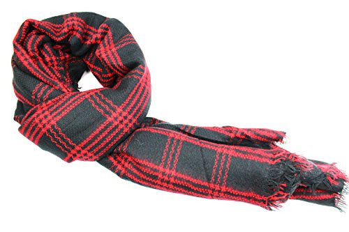 Pop Fashion Women's Oversized Blanket Scarf with Ultra Soft Feel and Plaid Printed Design (Red, Black) - Pop Fashion