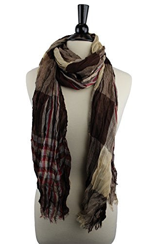 Pop Fashion Women's Long Tissue Scarf with Frayed Design and Scrunch Texture (Tan, Brown, Red)