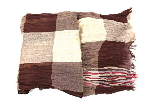 Pop Fashion Women's Long Tissue Scarf with Frayed Design and Scrunch Texture (Tan, Brown, Red) - Pop Fashion