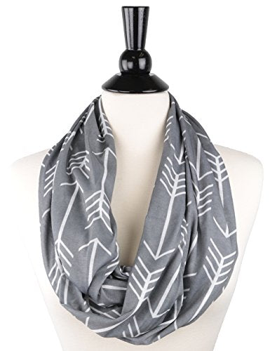 Women's Arrow Patterned Infinity Scarf with Zipper Pocket