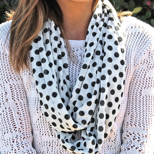 Pop Fashion Women's Infinity Pocket Scarf with Zipper Pocket, Polka Dot Pattern Print Scarf Design, Infinity Scarves