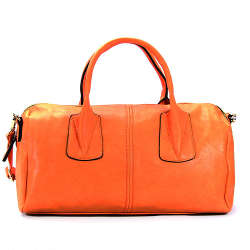 Casual Round Purse Handbag Tote Bag - Tangerine