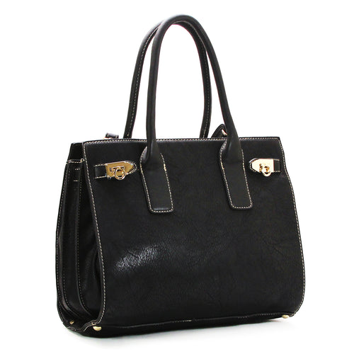 Everyday Leather Satchel with Detachable Shoulder Strap - Black