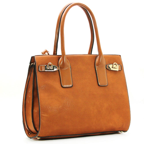 Everyday Leather Satchel with Detachable Shoulder Strap - Brown