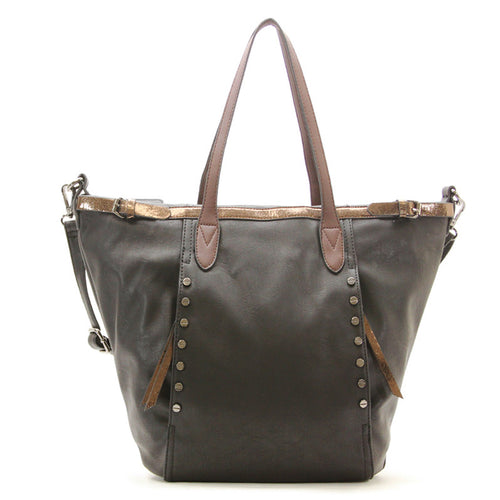 Studded Evening Tote with Adjustable Strap - Black