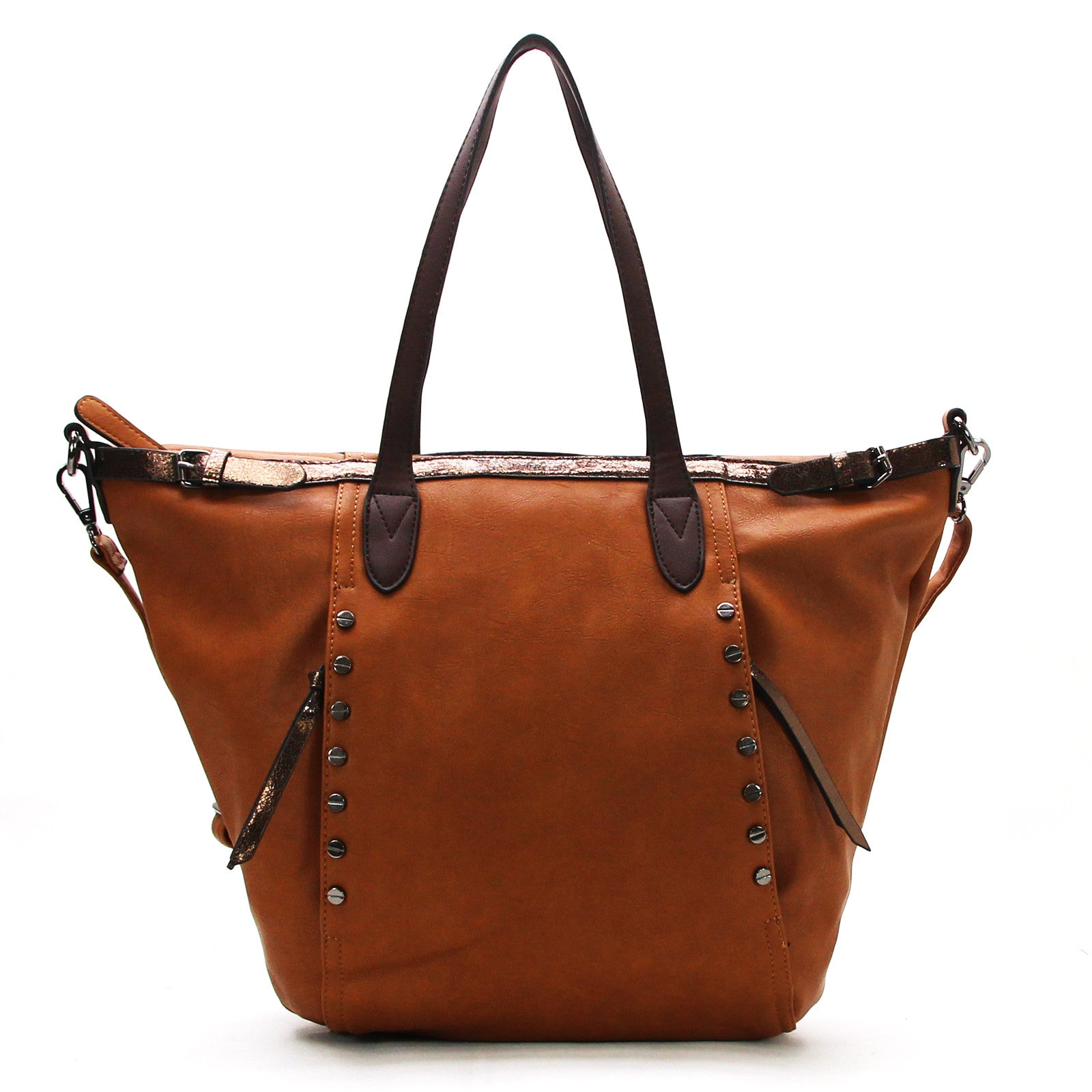 Studded Evening Tote with Adjustable Strap - Brown - Pop Fashion