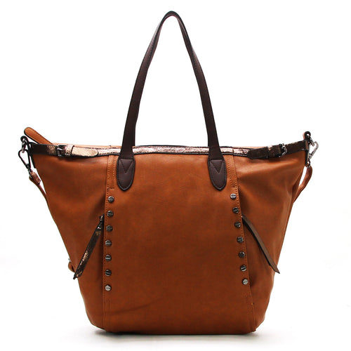 Studded Evening Tote with Adjustable Strap - Brown