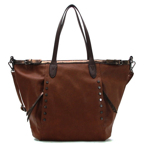 Studded Evening Tote with Adjustable Strap - Dark Brown