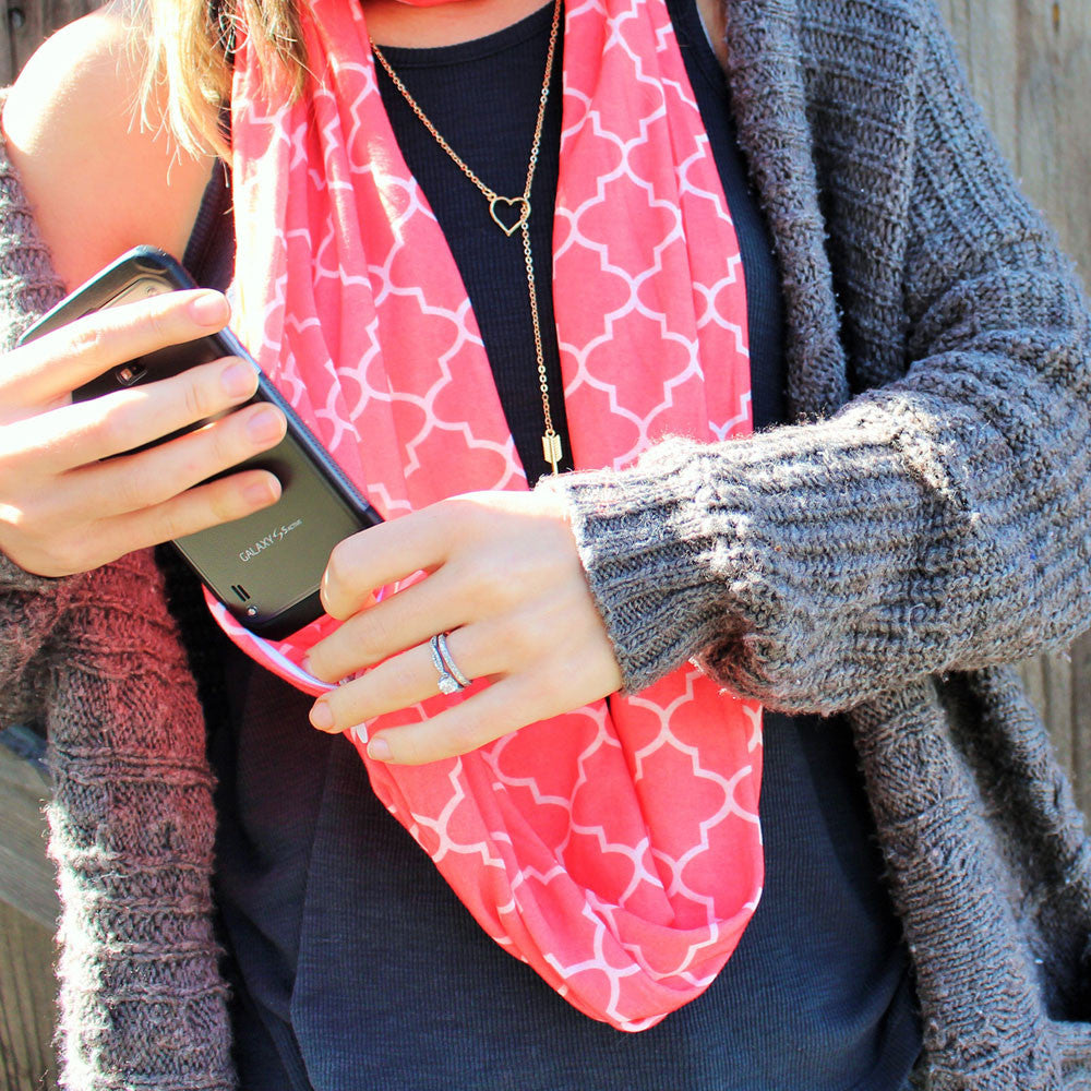 Women's Infinity Scarf with Zipper Pocket and Pattern Print, Infinity Scarves