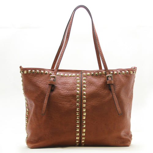 Studded Weekend Tote - Brown
