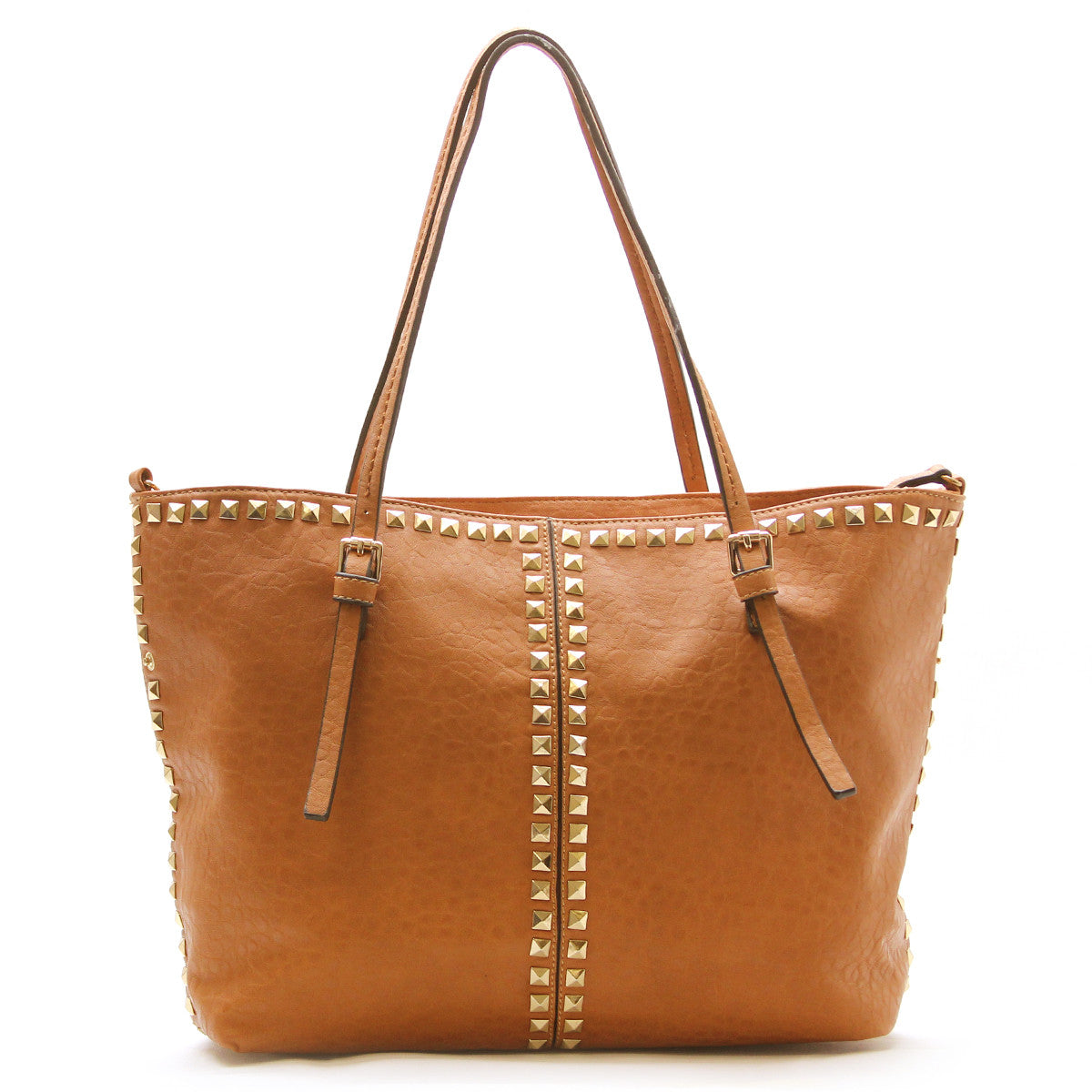 Studded Weekend Tote - Tan - Pop Fashion