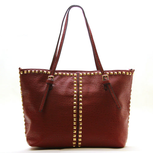 Studded Weekend Tote - Wine