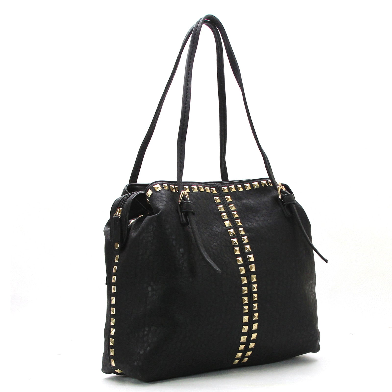 Studded Weekend Tote - Black - Pop Fashion