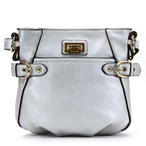 Leather Weekday Crossbody - Silver