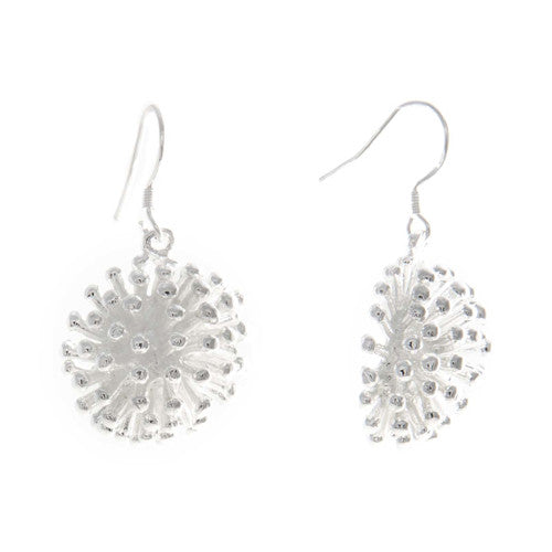 Silver pom pom earrings