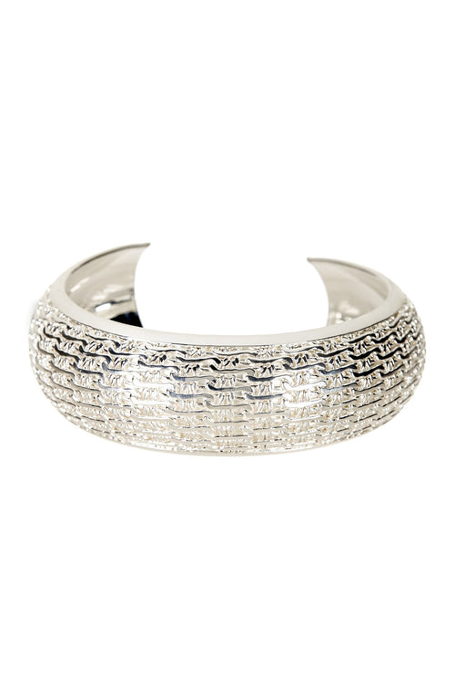 Round Silver Patterned Bangle