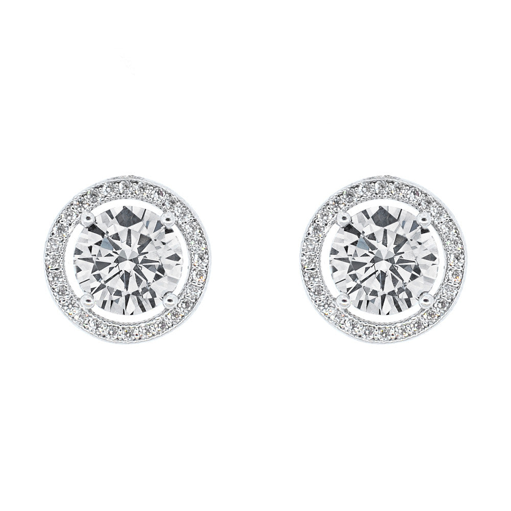 Pop Fashion Women's 18k White Gold Round Cut Halo Stud Earrings - Pop Fashion