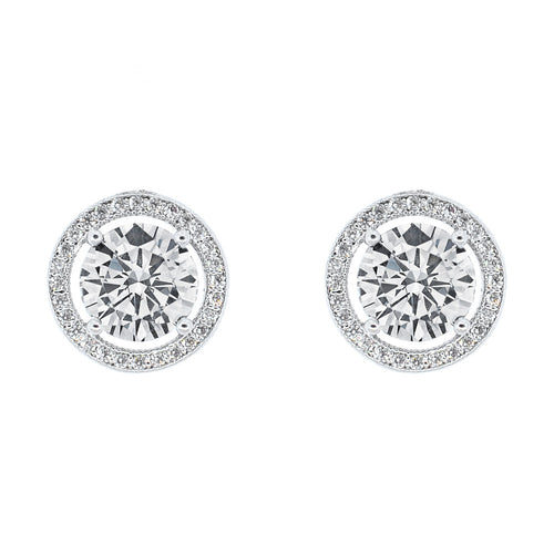 Pop Fashion Women's 18k White Gold Round Cut Halo Stud Earrings