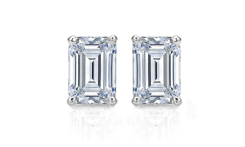Pop Fashion - Sterling Silver 2CT Emerald Cut Stud Earrings