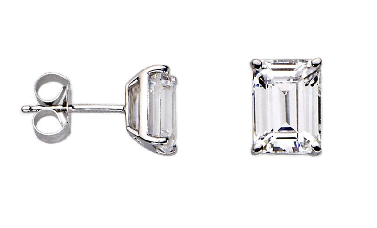 Pop Fashion - Sterling Silver 2CT Emerald Cut Stud Earrings - Pop Fashion