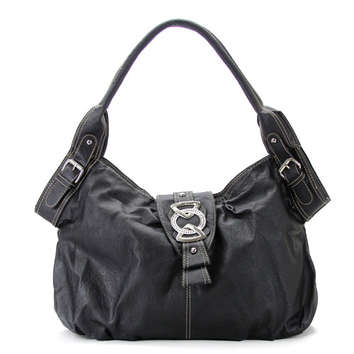 Classic Everyday Fold Over Buckle Purse Handbag Tote Bag - Black