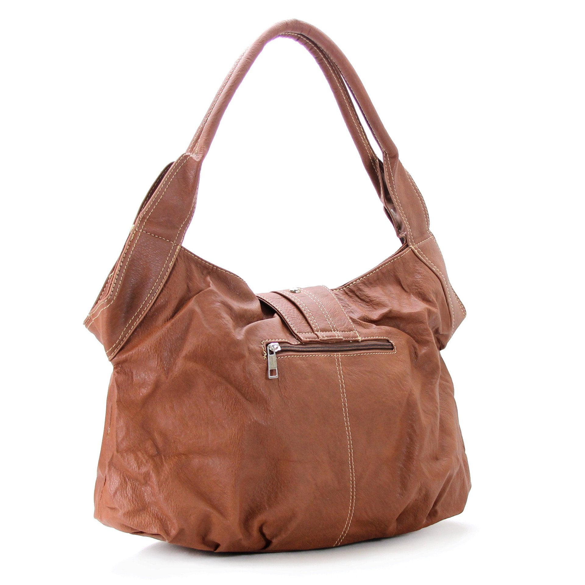 Classic Everyday Fold Over Buckle Purse Handbag Tote Bag - Brown - Pop Fashion