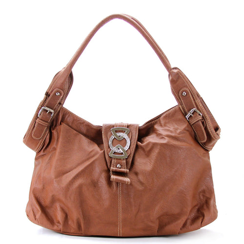 Classic Everyday Fold Over Buckle Purse Handbag Tote Bag - Brown