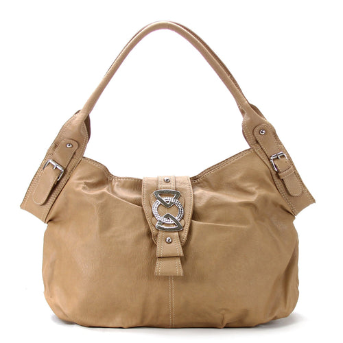 Classic Everyday Fold Over Buckle Purse Handbag Tote Bag - Khaki