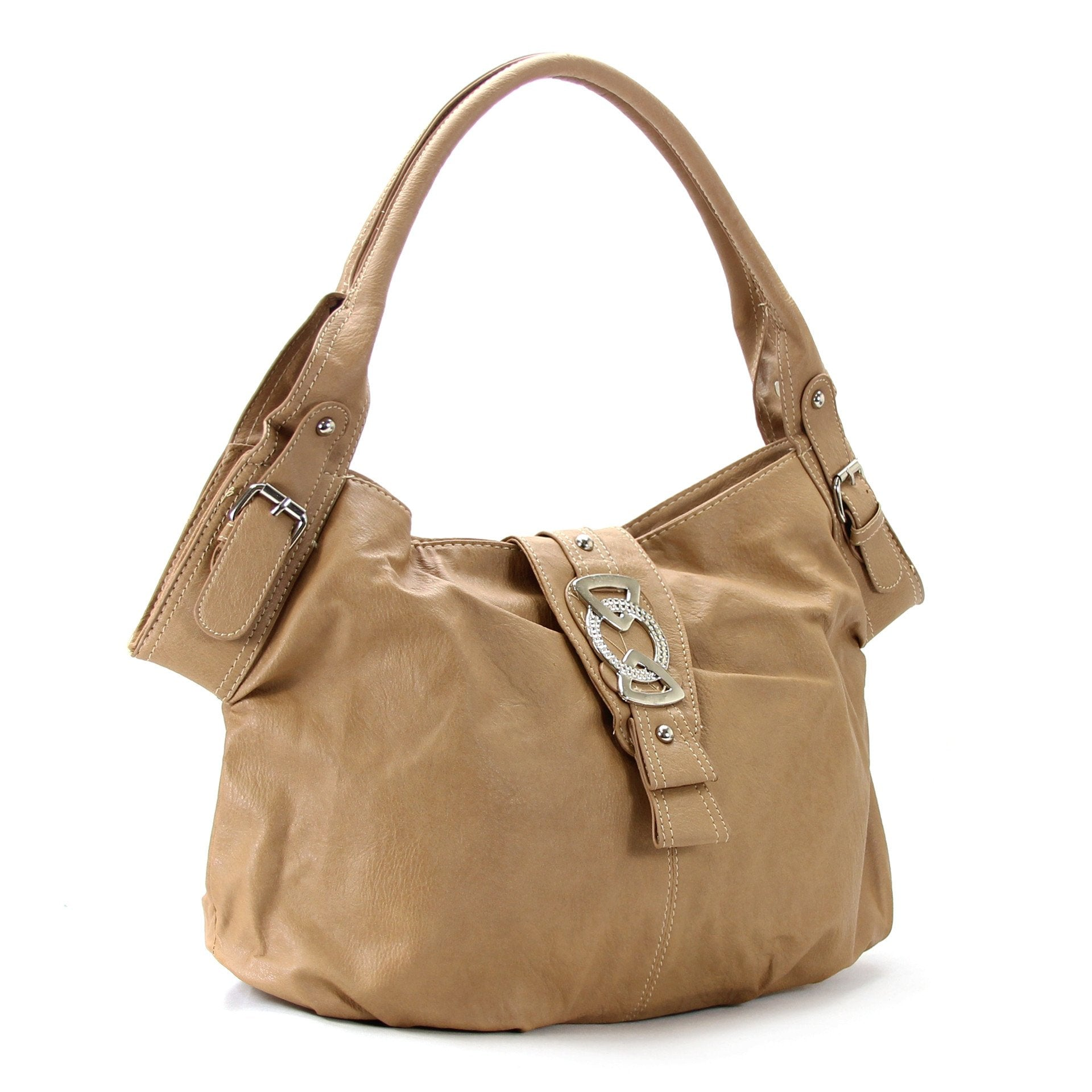 Classic Everyday Fold Over Buckle Purse Handbag Tote Bag - Khaki - Pop Fashion